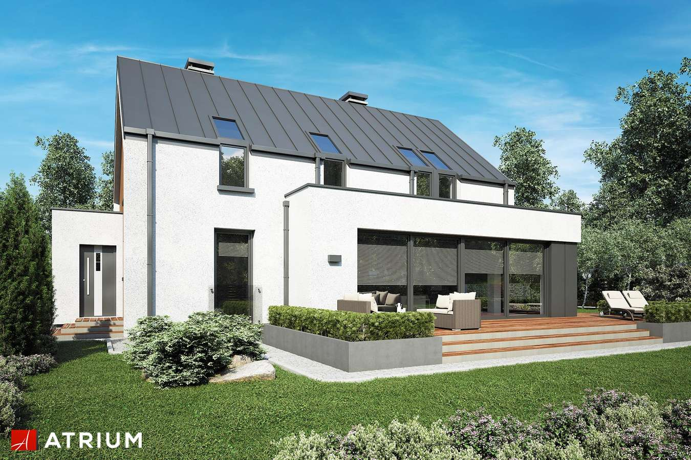 Projekty domów - Projekt domu z poddaszem POLARIS - wizualizacja 2 - wersja lustrzana
