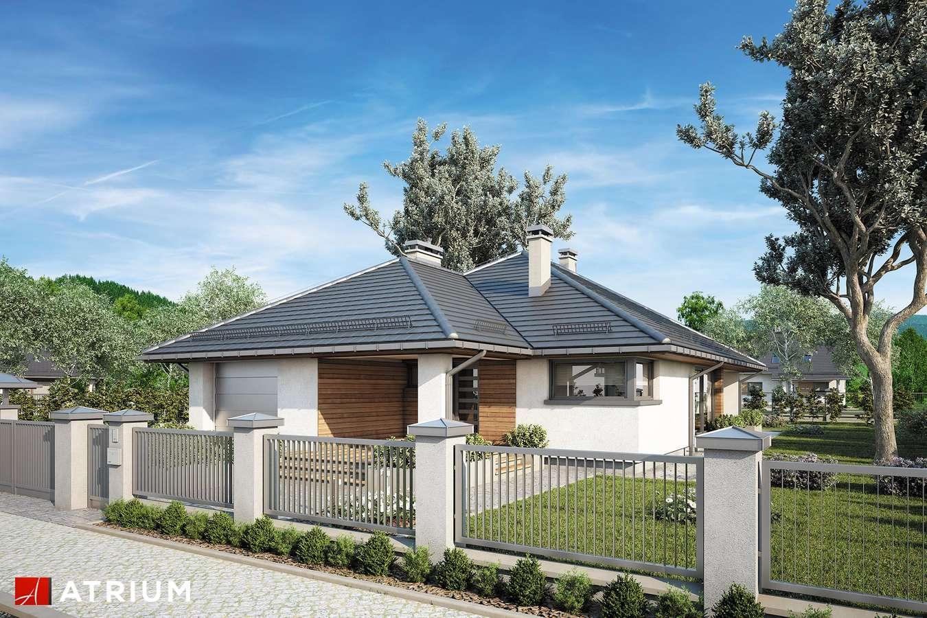 Projekty domów - Projekt domu parterowego KRASKA - wizualizacja 1 - wersja lustrzana