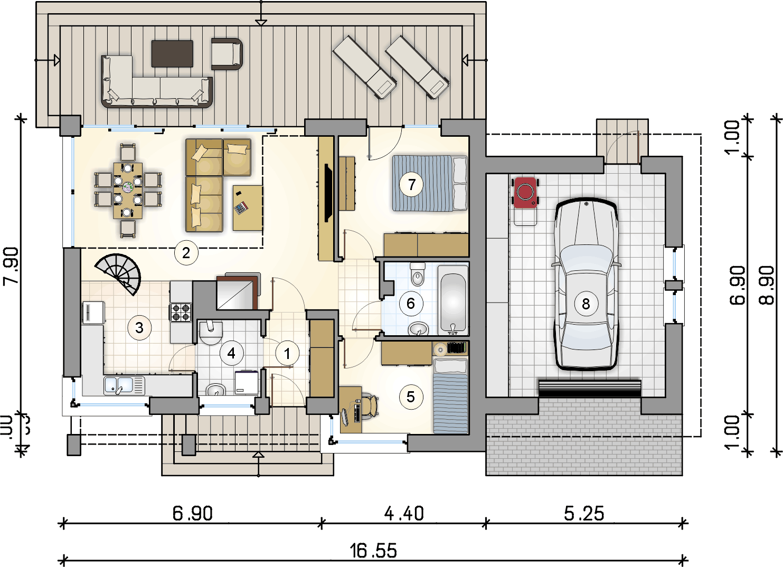 rzut parteru - projekt Ricardo Lift II - wersja lustrzana
