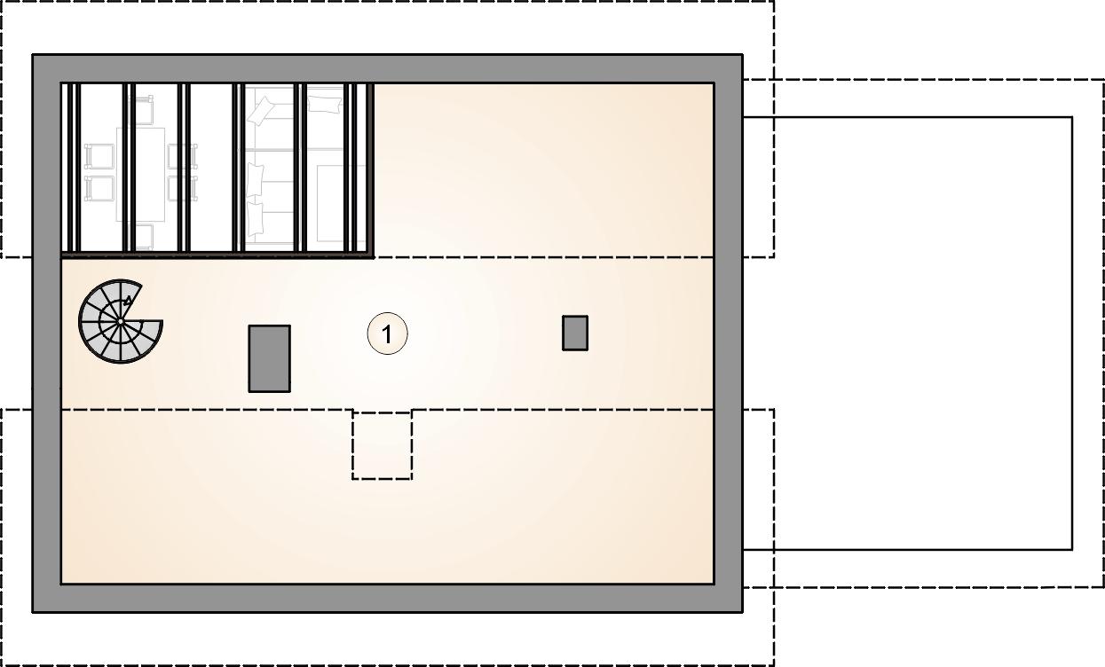rzut poddasza - projekt Ricardo Lift II - wersja lustrzana