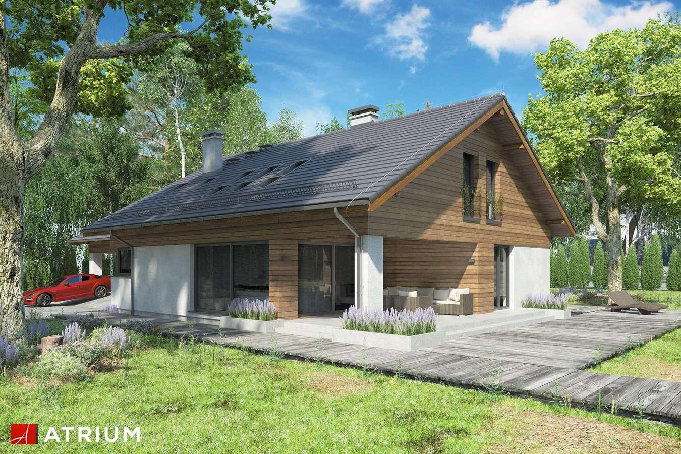 Projekty domów - Projekt domu z poddaszem KOS PLUS II - wizualizacja 2 - wersja lustrzana