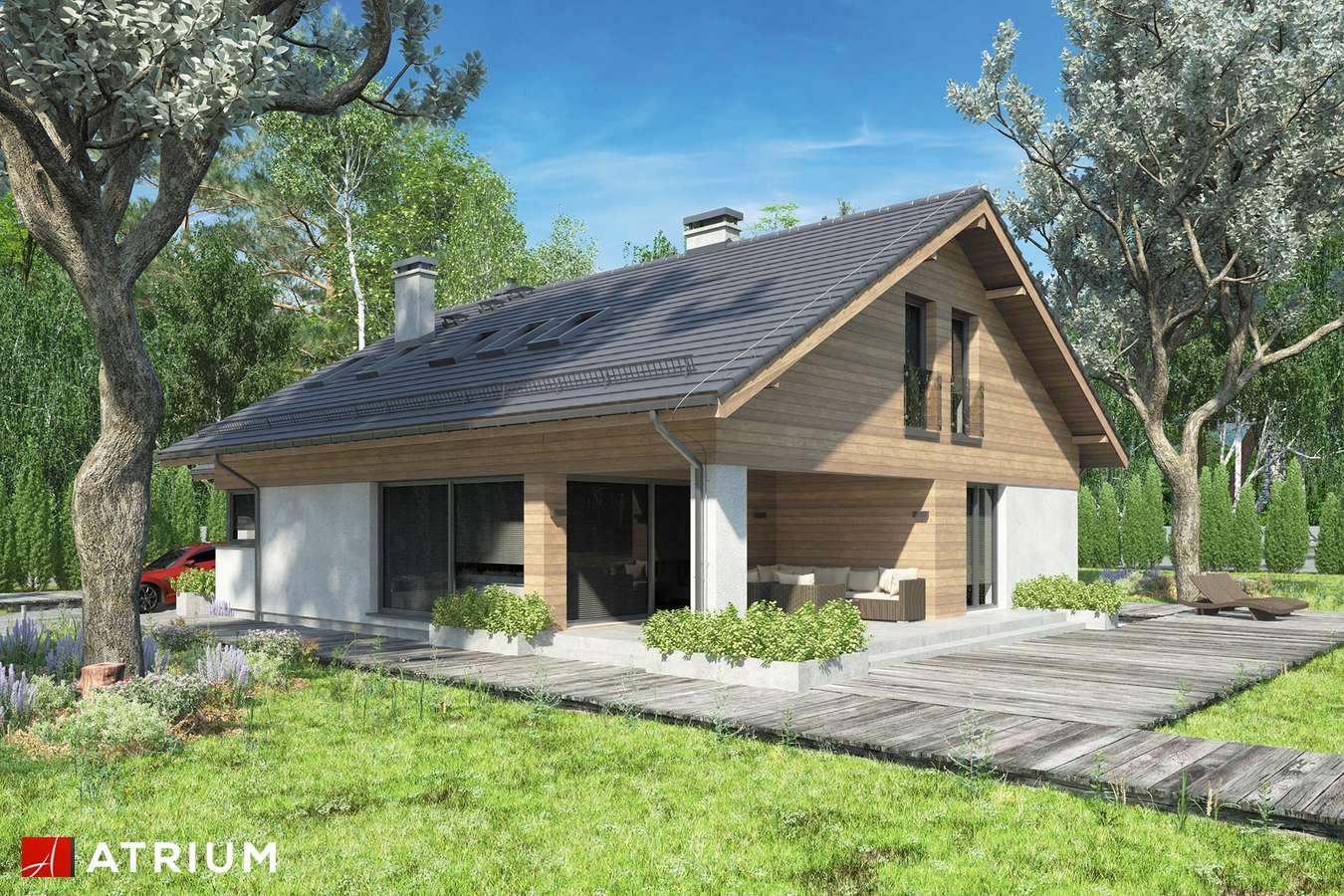 Projekty domów - Projekt domu z poddaszem KOS PLUS III - wizualizacja 1 - wersja lustrzana