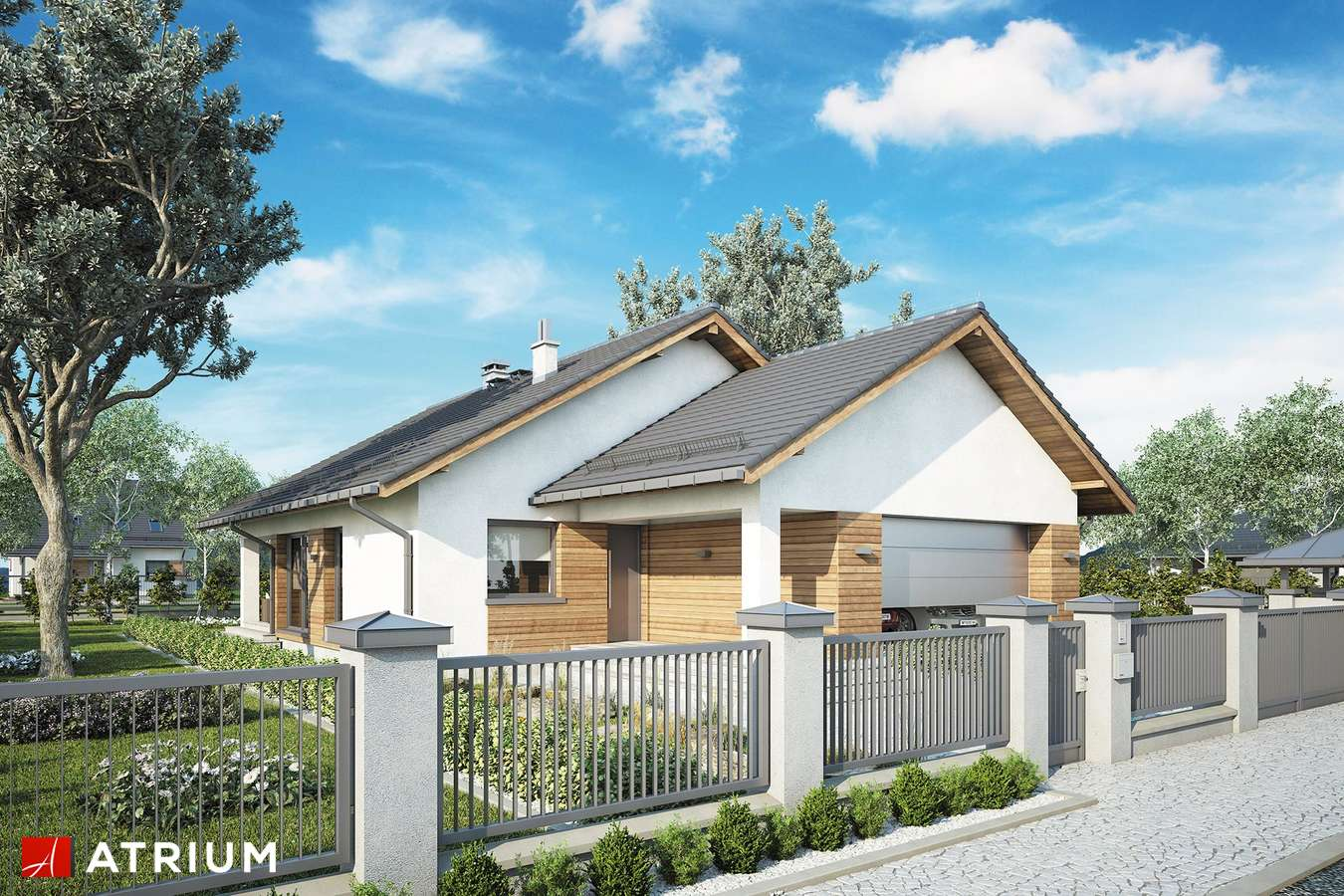 Projekty domów - Projekt domu parterowego BURSZTYN PLUS MAXI II - wizualizacja 1