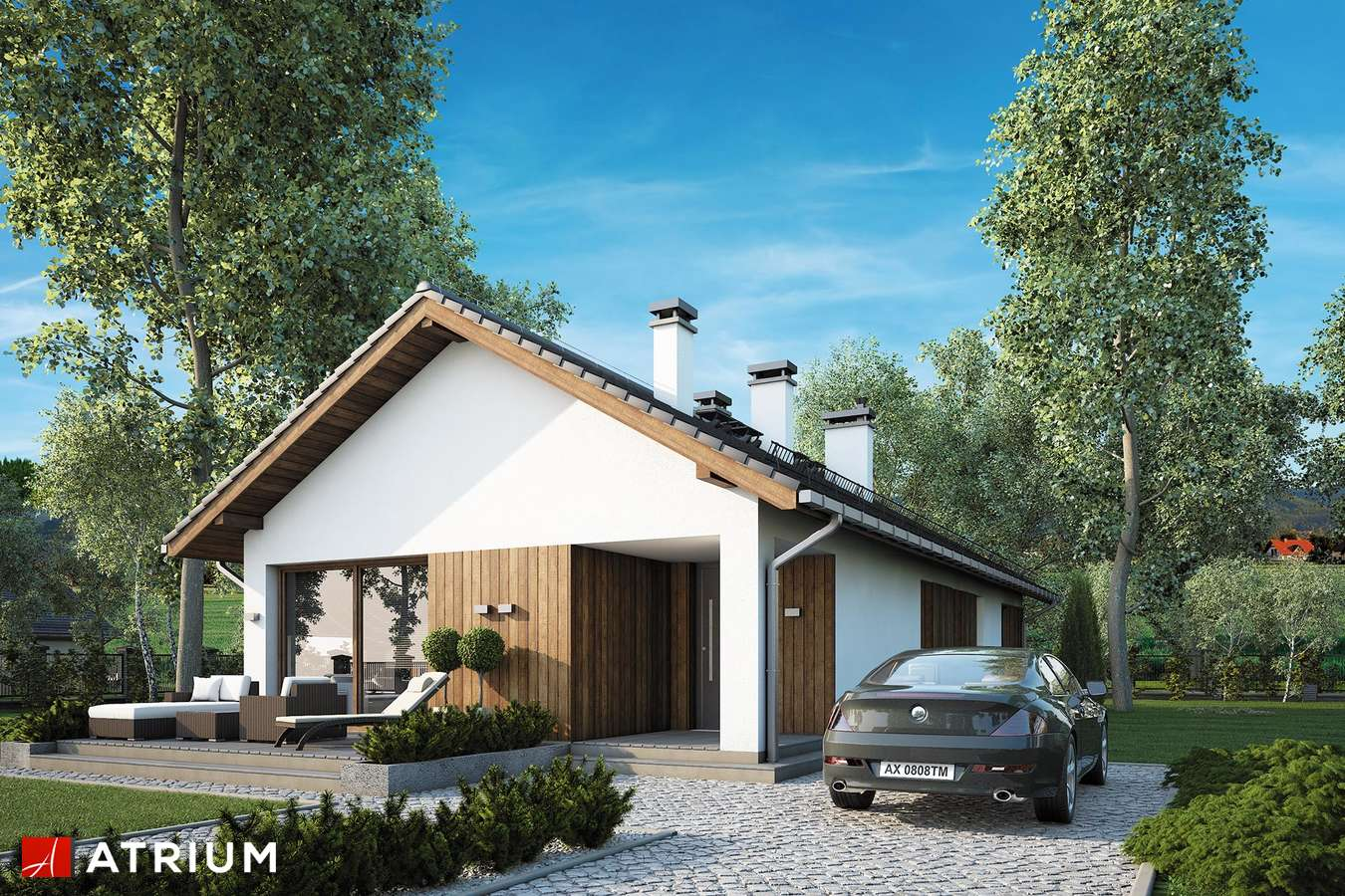 Projekty domów - Projekt domu parterowego OLIMP II - wizualizacja 2