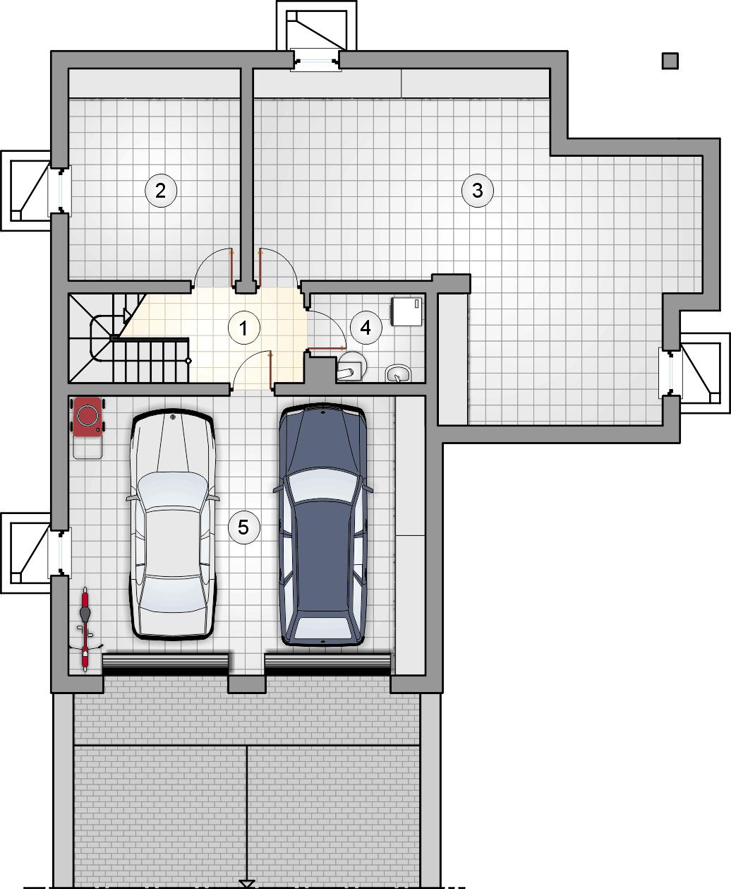rzut piwnic - projekt Gustaw II