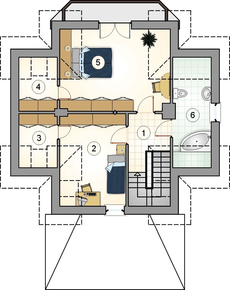 Rzut poddasza - projekt Mikrus
