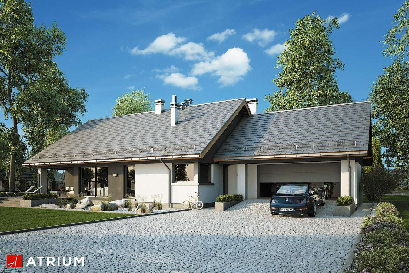 Projekty domów - Projekt domu parterowego CZAJKA II SZ - wizualizacja 1