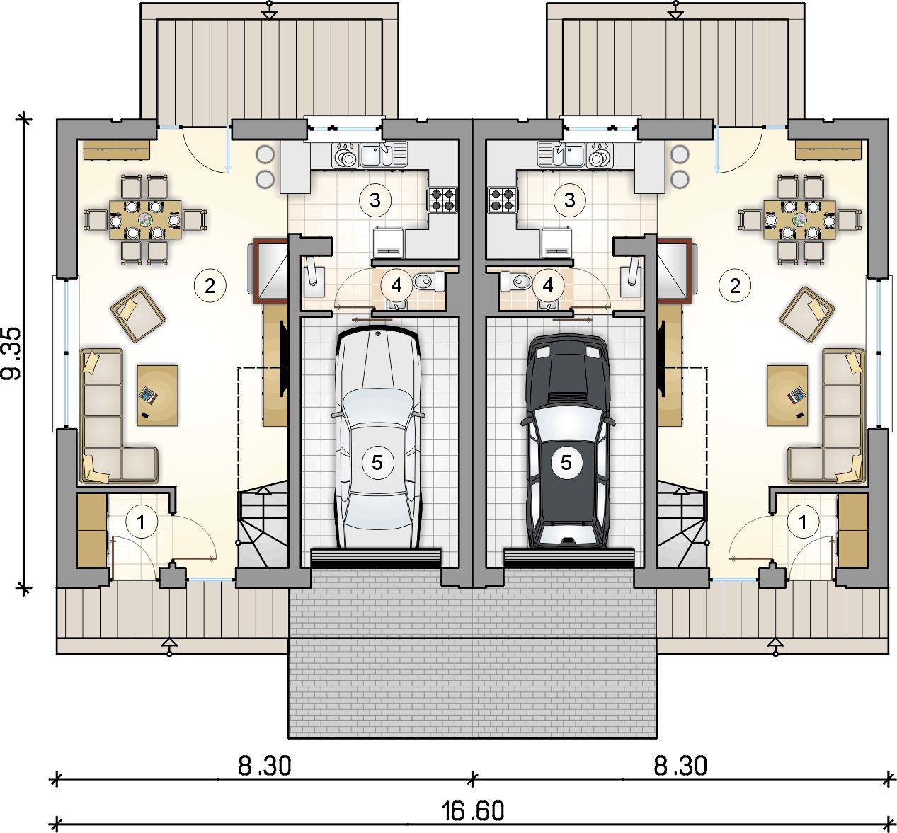 rzut parteru - projekt Double House IV