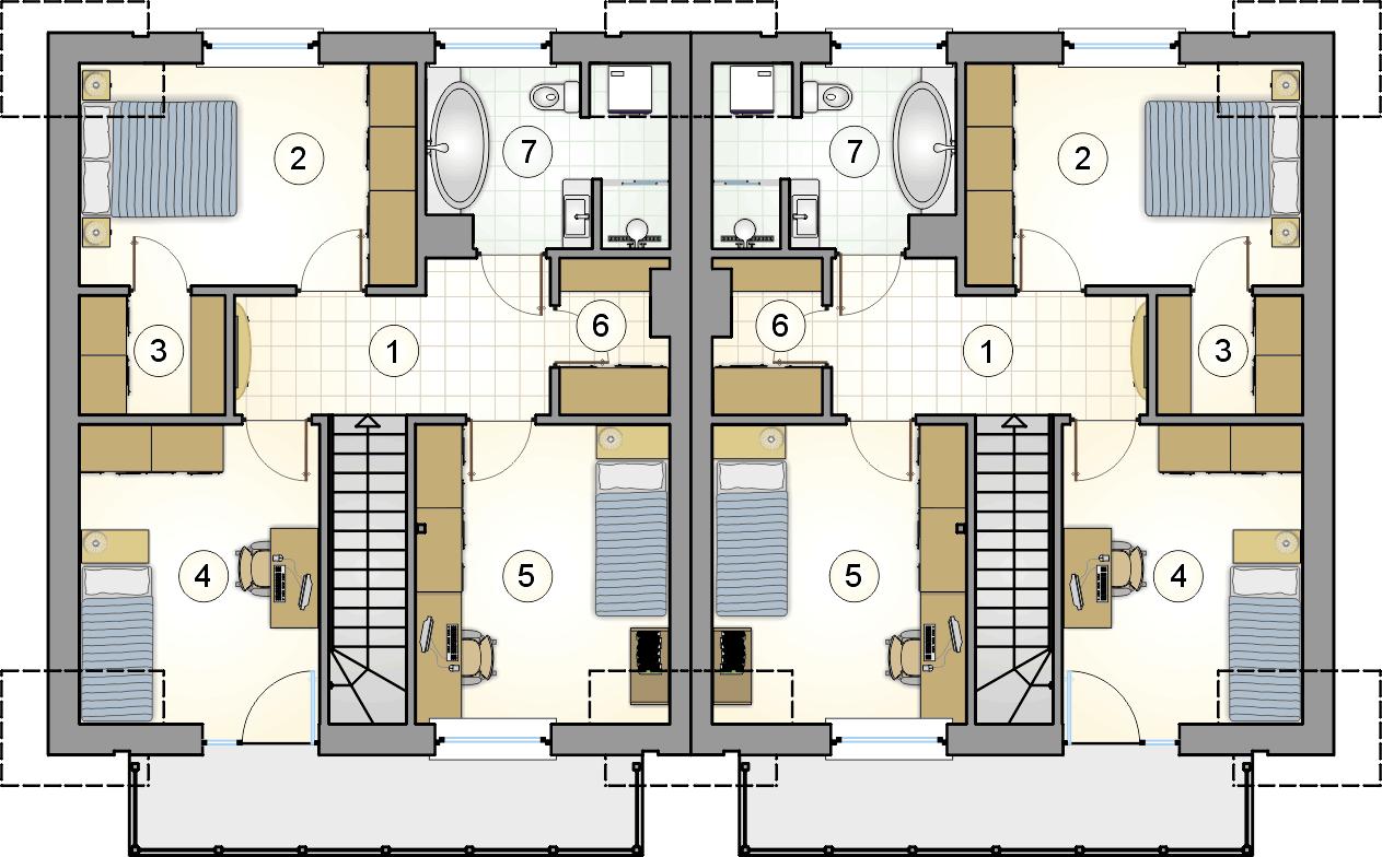 rzut poddasza - projekt Double House IV