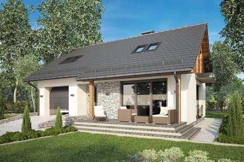 Projekt domu z poddaszem PAOLO - wizualizacja 1