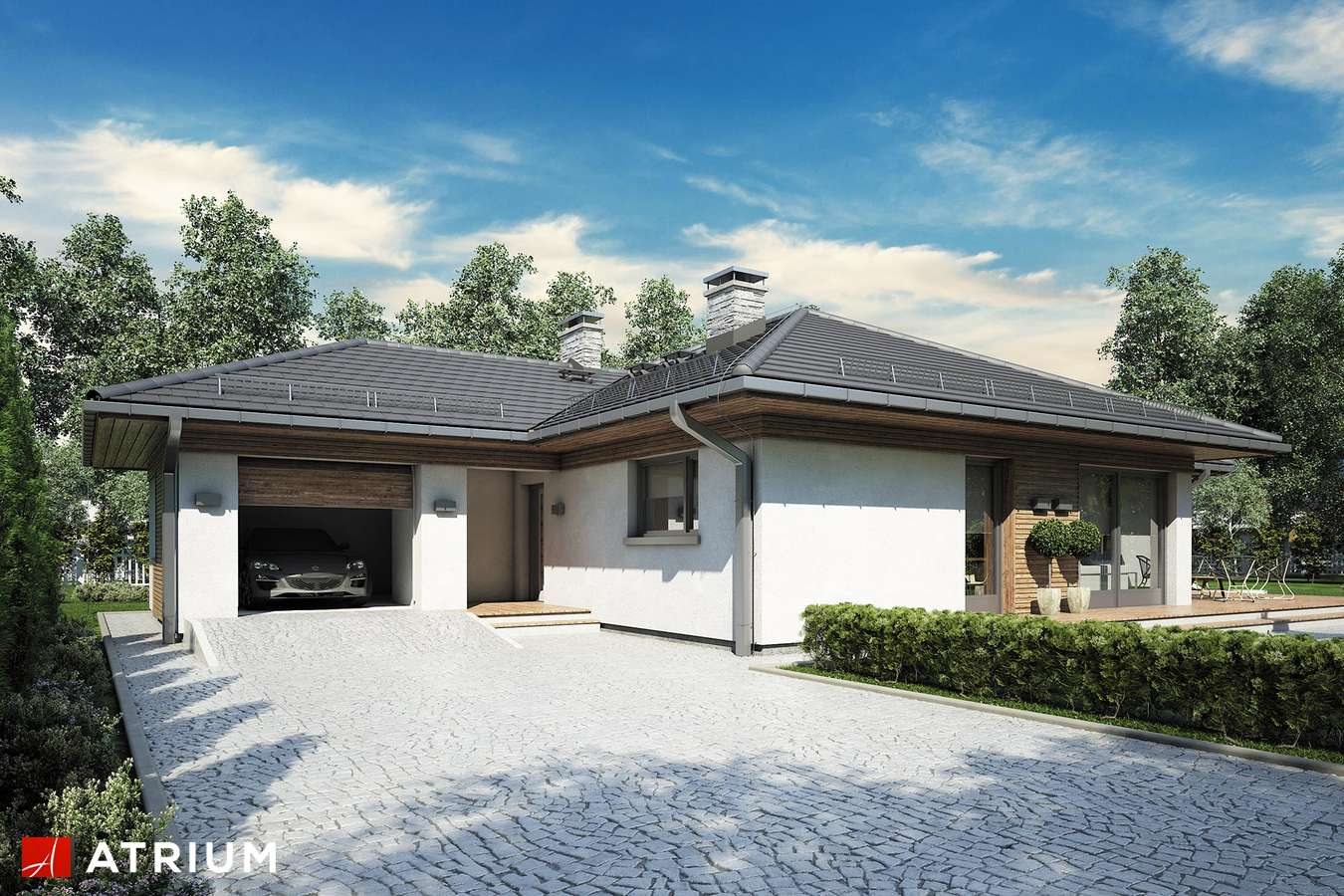 Projekty domów - Projekt domu parterowego MERIDA II - wizualizacja 1 - wersja lustrzana
