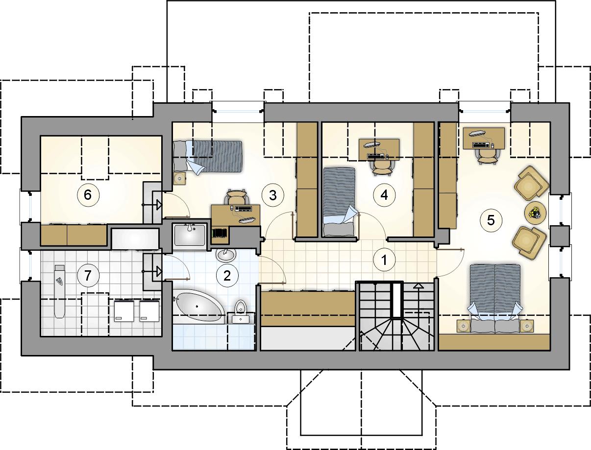 rzut poddasza - projekt U Gazdy IV - wersja lustrzana