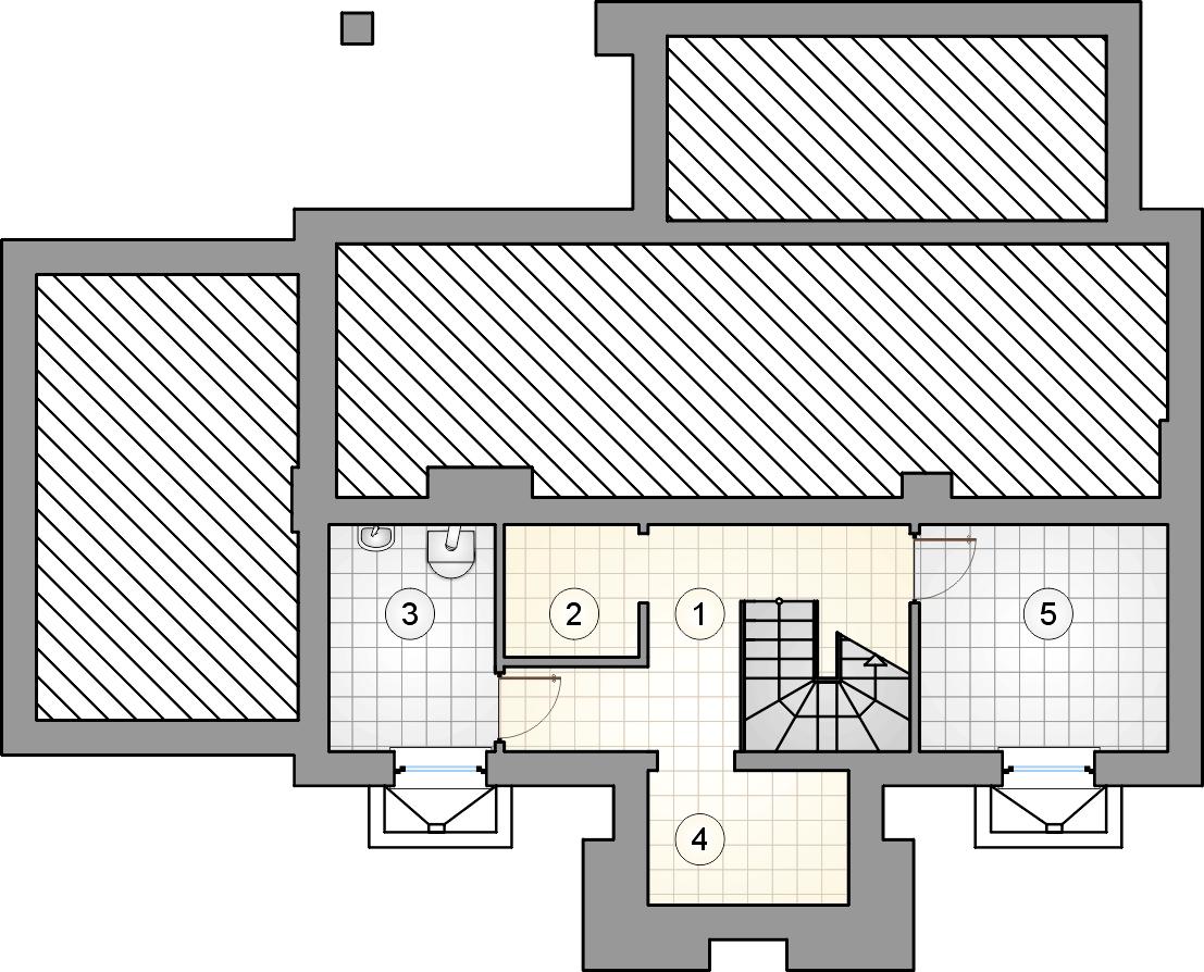 rzut piwnic - projekt U Gazdy IV - wersja lustrzana