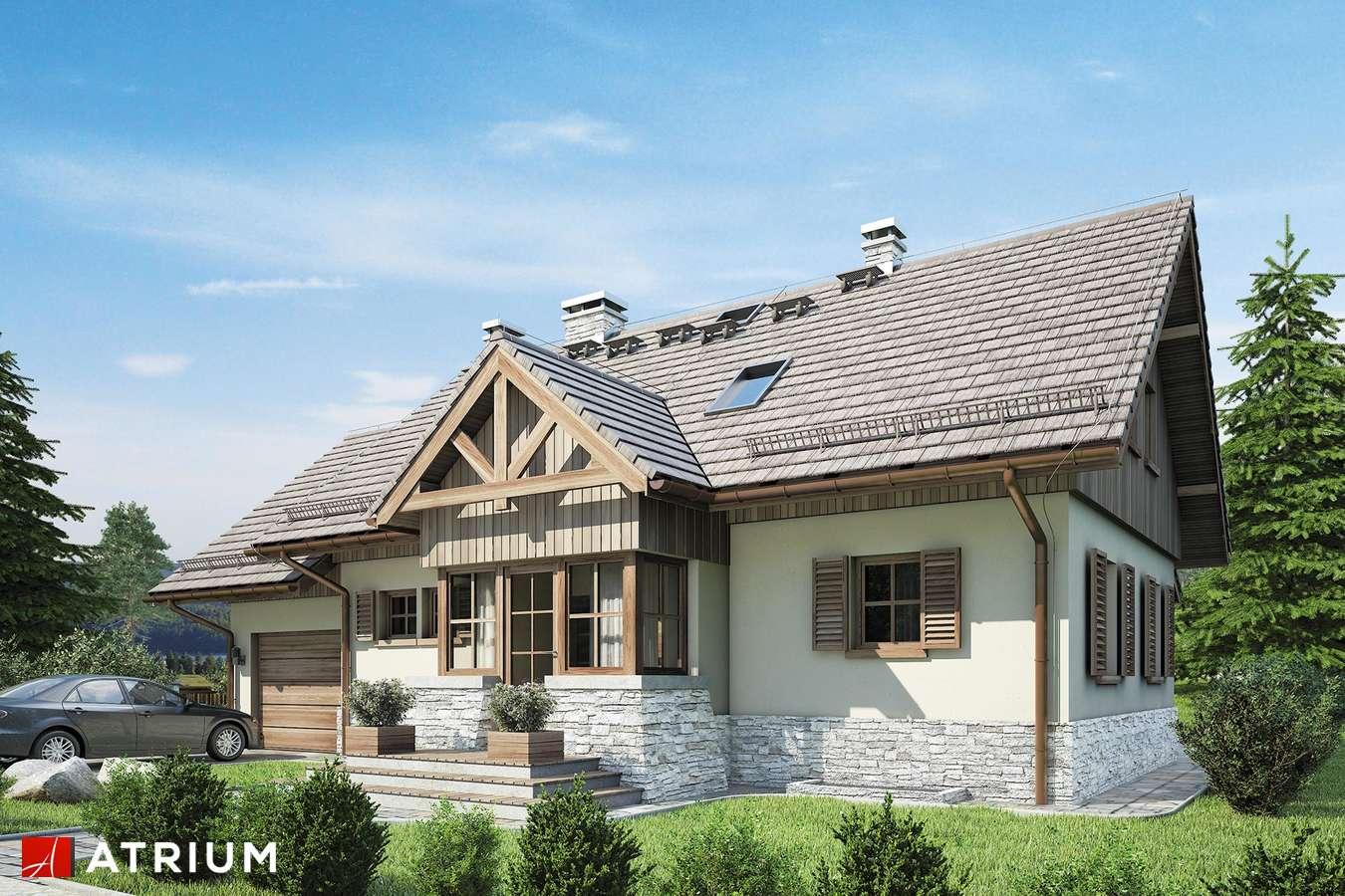 Projekty domów - Projekt domu z poddaszem U GAZDY IV - wizualizacja 1 - wersja lustrzana