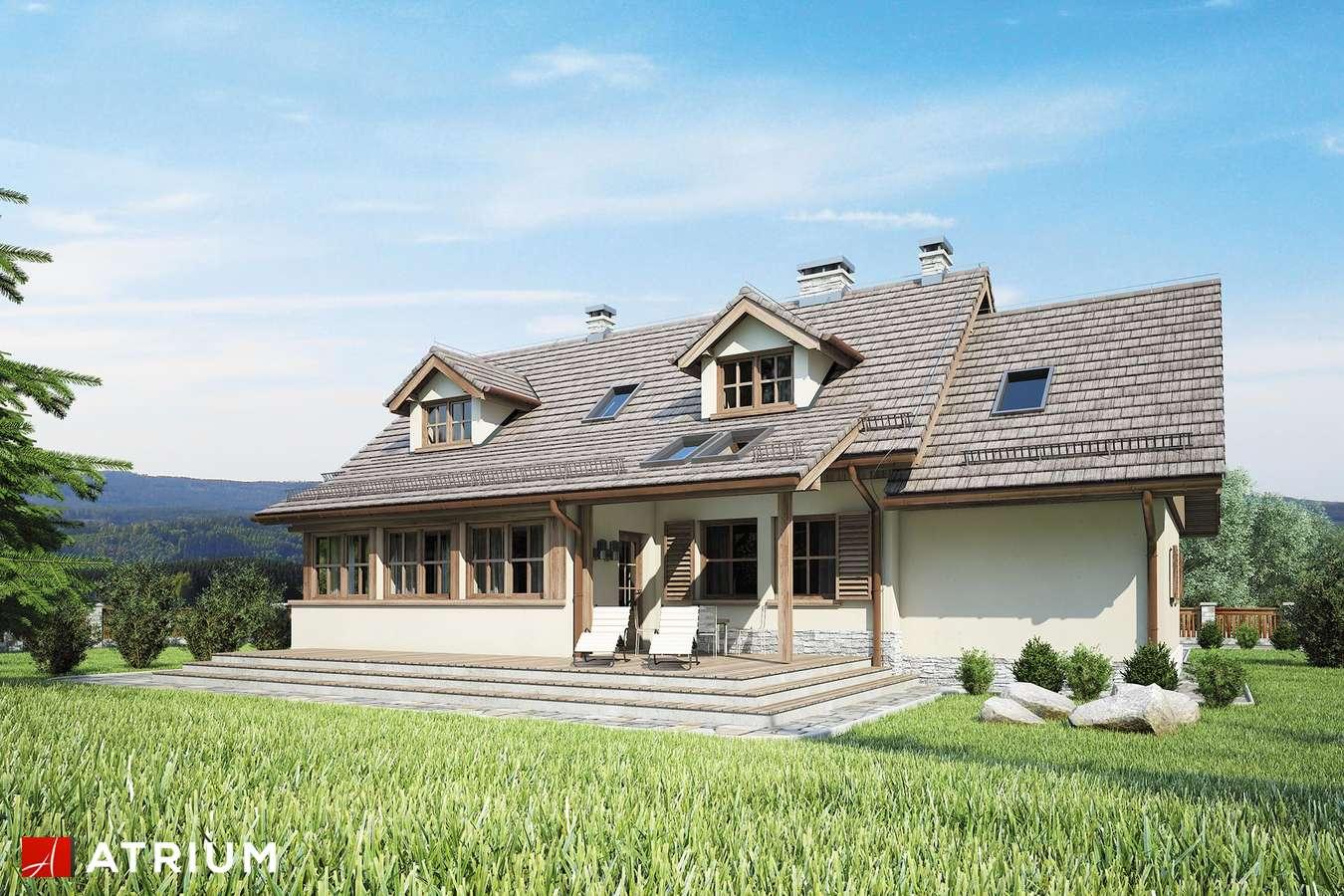 Projekty domów - Projekt domu z poddaszem U GAZDY IV - wizualizacja 2 - wersja lustrzana