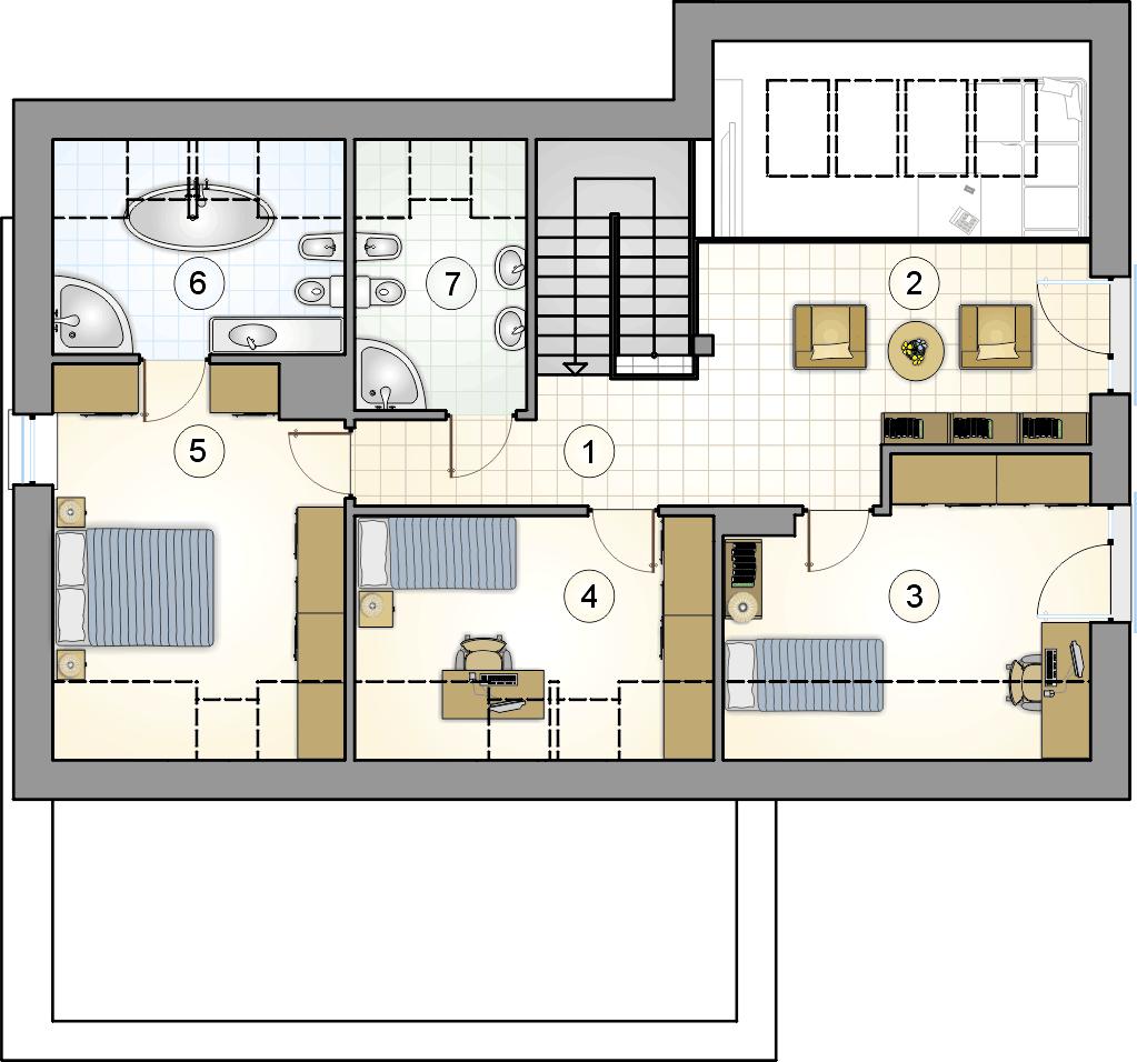 rzut poddasza - projekt Wilson II