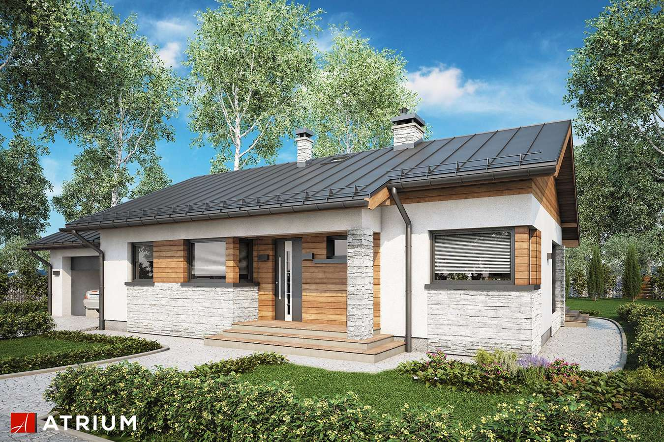 Projekty domów - Projekt domu parterowego ROBERTO II SZ - wizualizacja 2