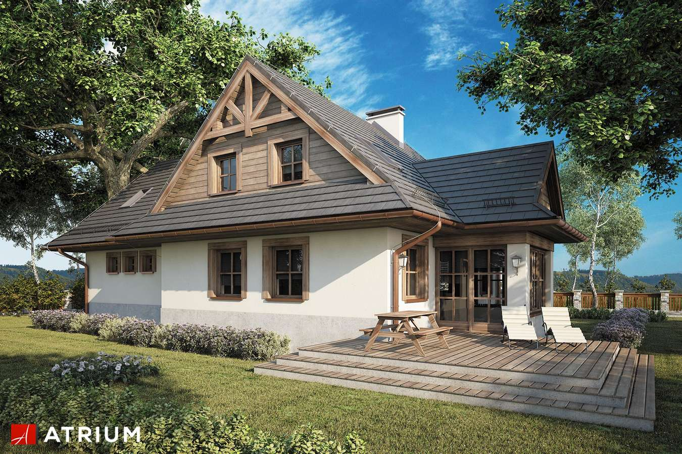 Projekty domów - Projekt domu z poddaszem MALINOWA CHATA II - wizualizacja 2
