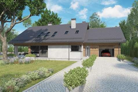 Projekt domu z poddaszem KOS PLUS IV - wizualizacja 1