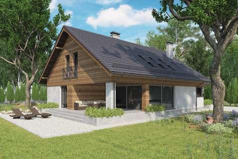 Projekt domu z poddaszem KOS PLUS IV - wizualizacja 2