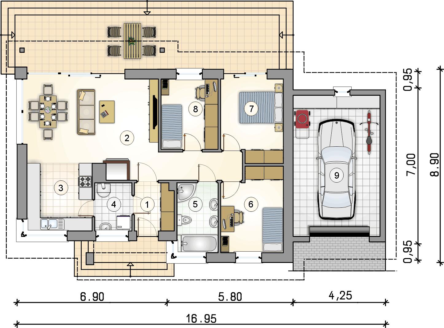 rzut parteru - projekt Roberto II - wersja lustrzana