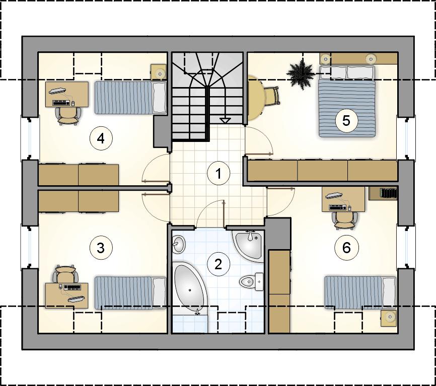 rzut poddasza - projekt Compact House IV