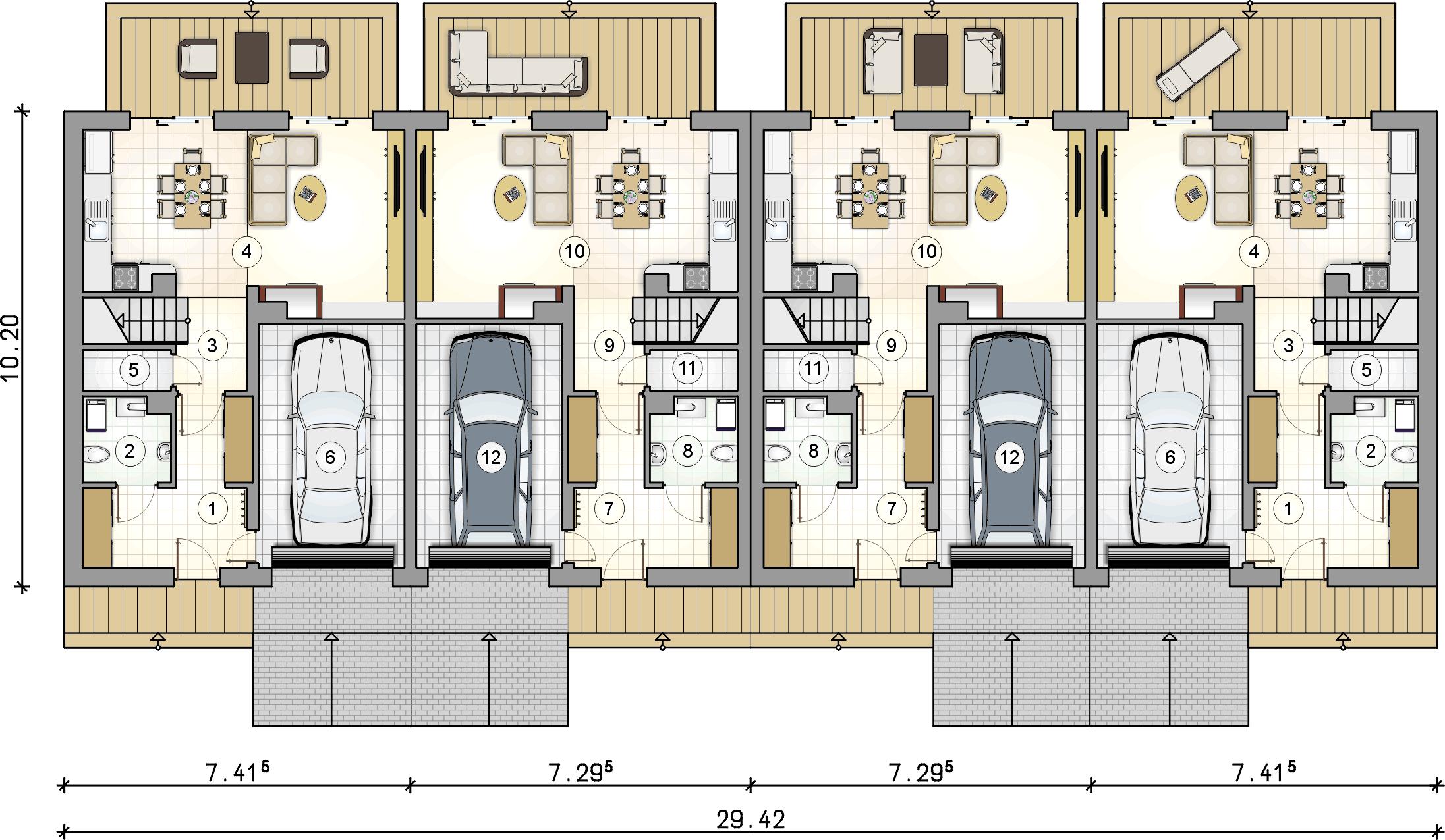 rzut parteru - projekt Torino II