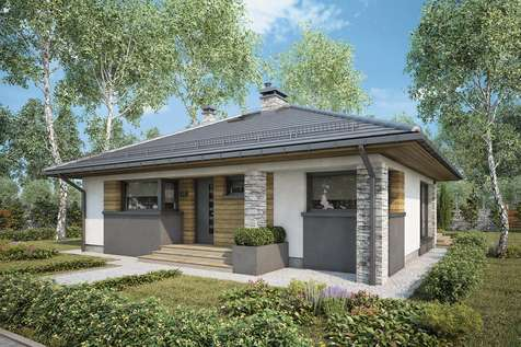 Projekt domu parterowego ROMANO - wizualizacja 1