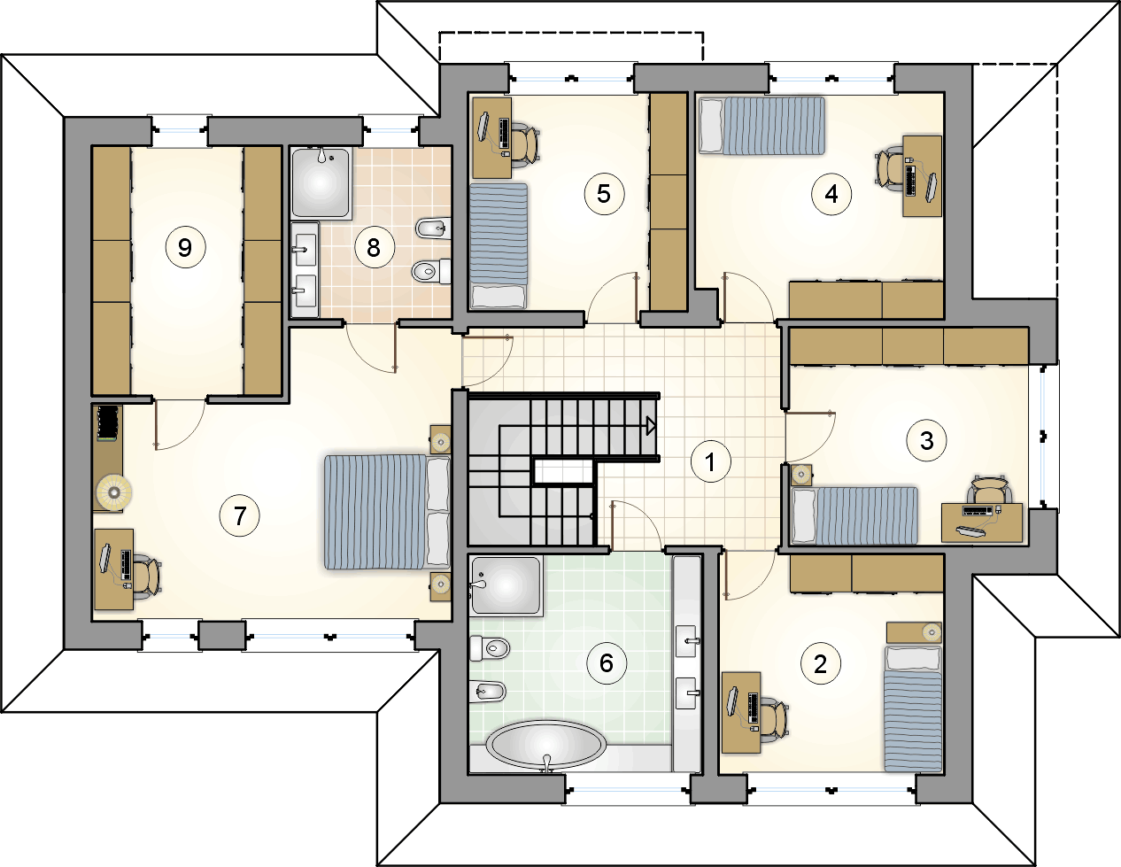rzut piętra - projekt Marsylia