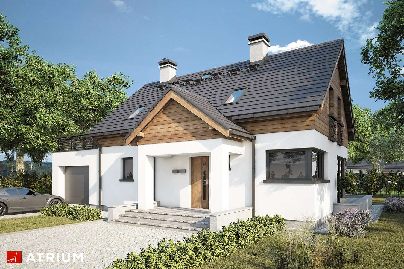 Projekty domów - Projekt domu z poddaszem SAMBA XV - wizualizacja 1