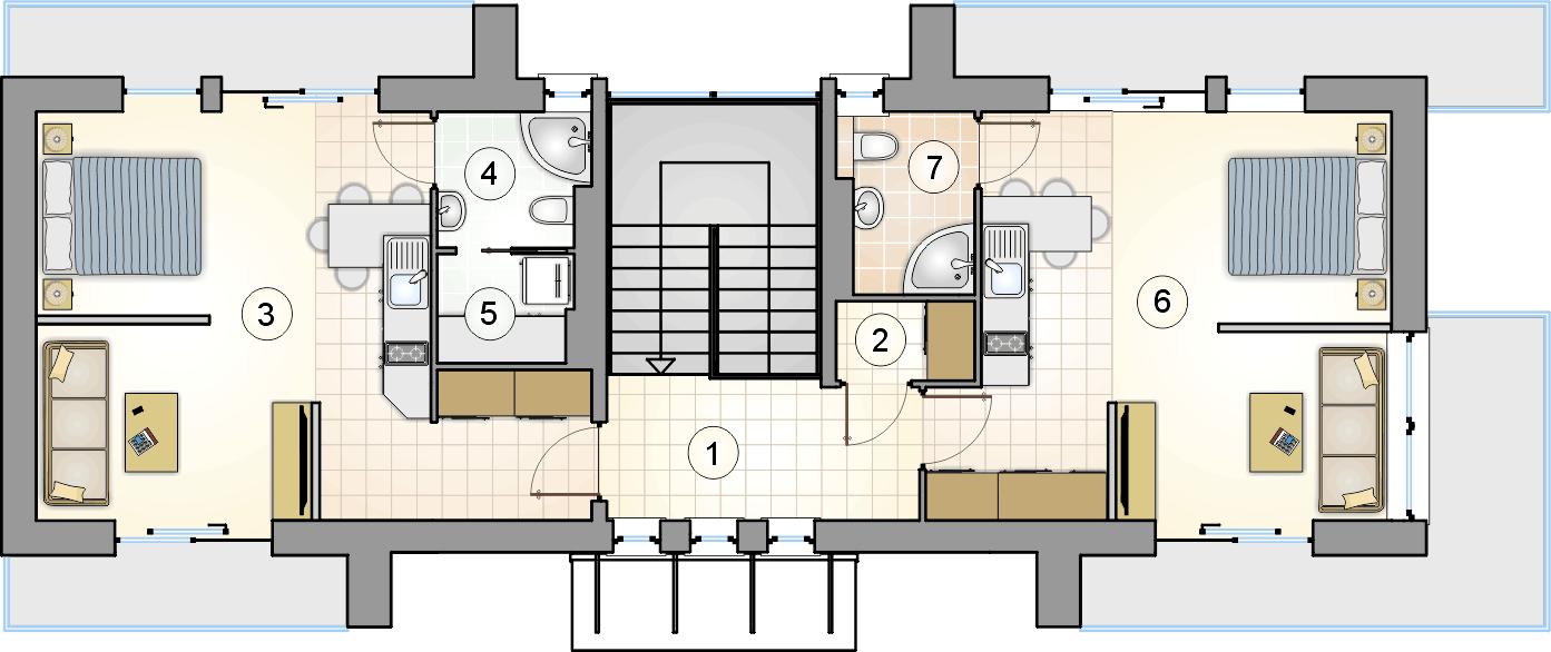 rzut piętra - projekt Studio House
