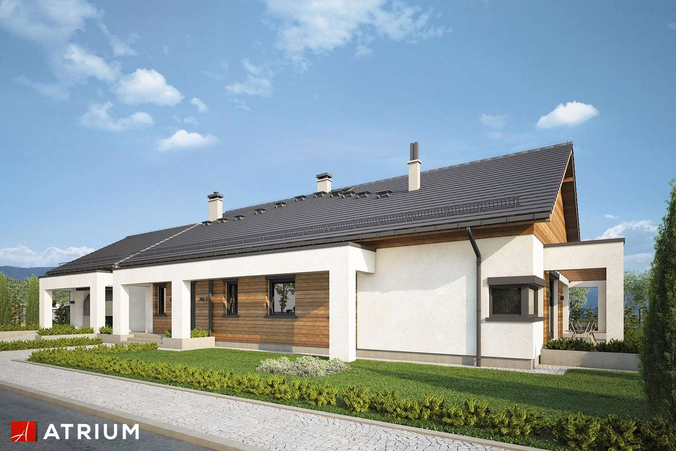 Projekty domów - Projekt domu parterowego MODEST II - wizualizacja 1