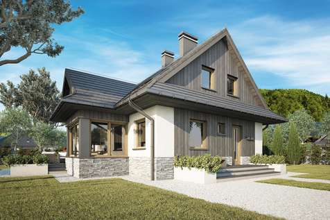 Projekt domu z poddaszem MALINOWA CHATA NEW