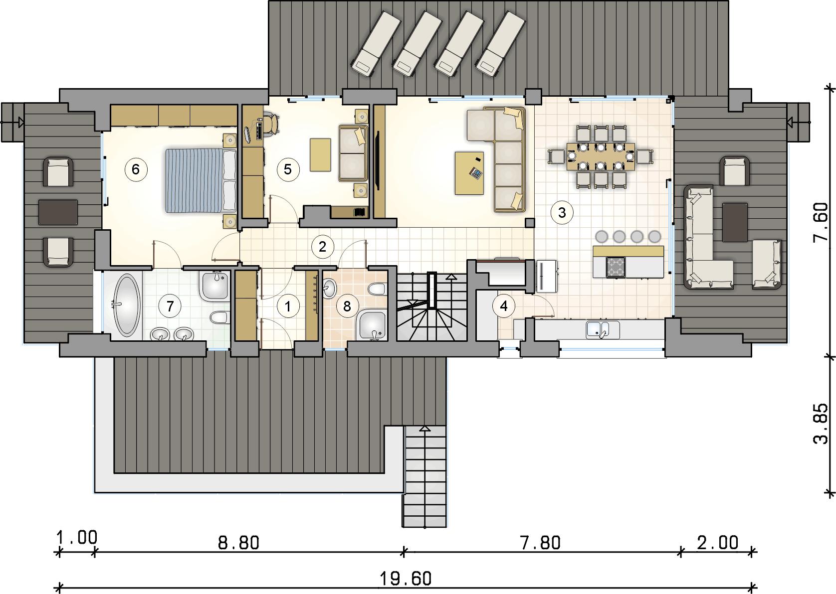 rzut parteru - projekt Marin III - wersja lustrzana