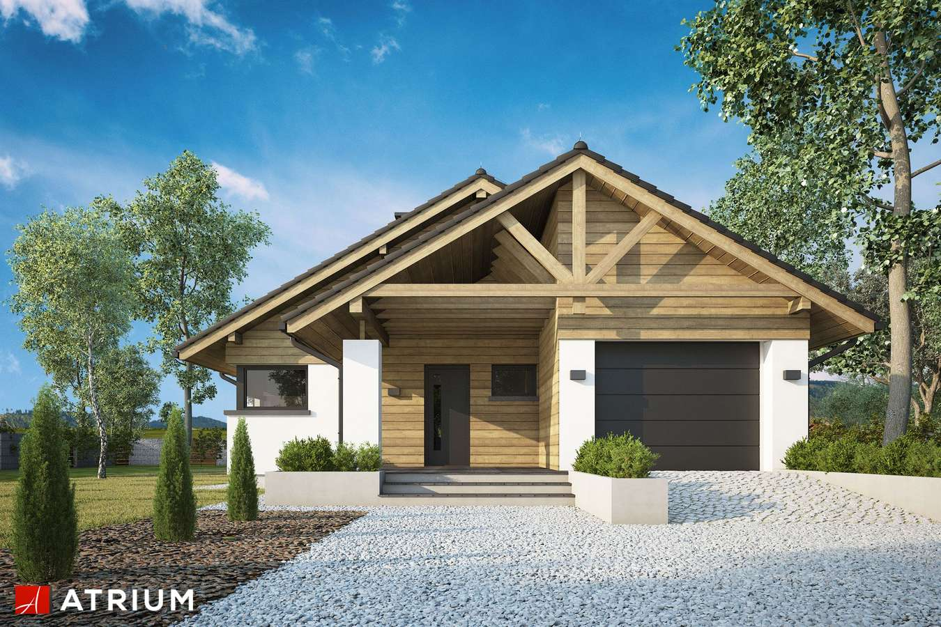 Projekty domów - Projekt domu parterowego PELIKAN XX - wizualizacja 2