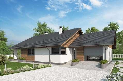 Projekt domu parterowego KOS X SZ - wizualizacja 1