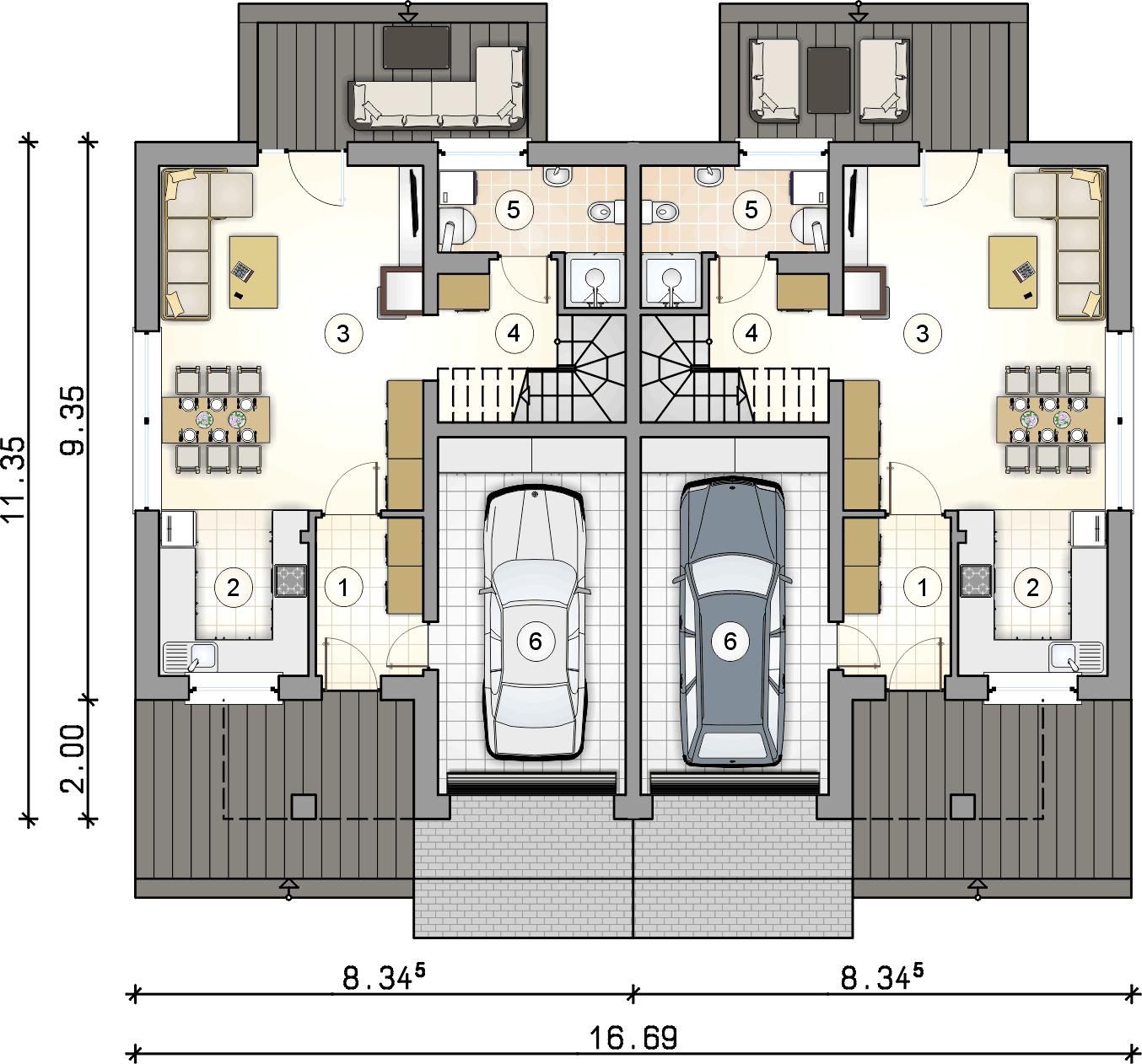 rzut parteru - projekt Double House V
