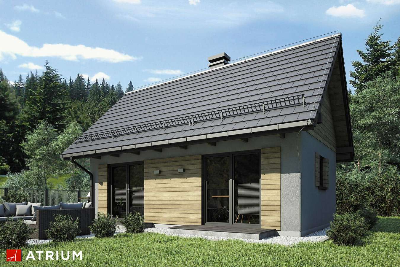 Projekty domów - Projekt domu parterowego PUNTO III - wizualizacja 2