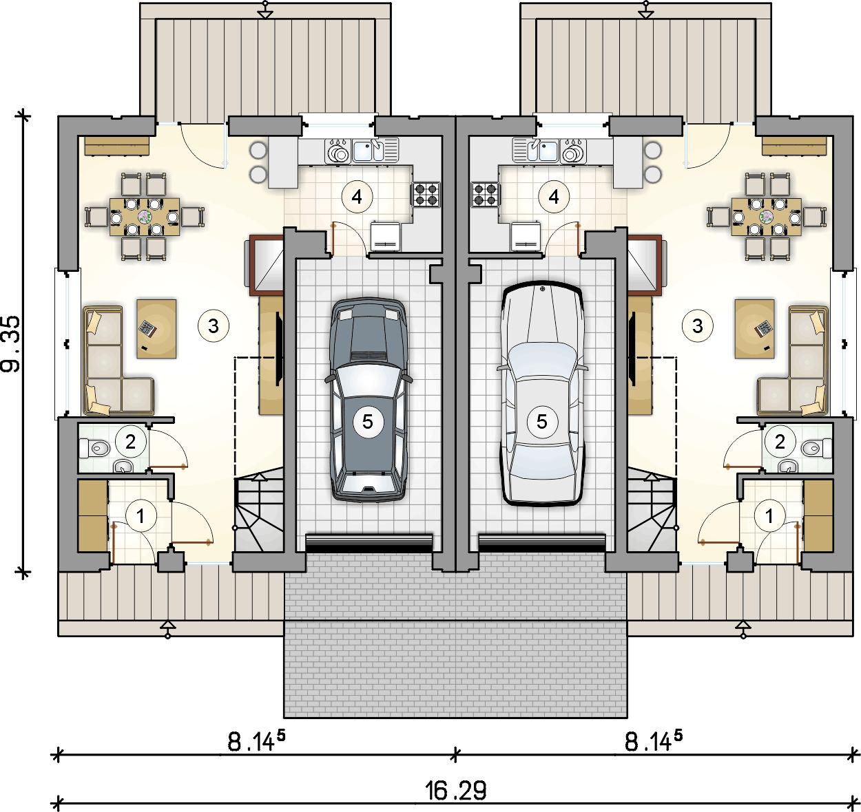 rzut parteru - projekt Double House VI