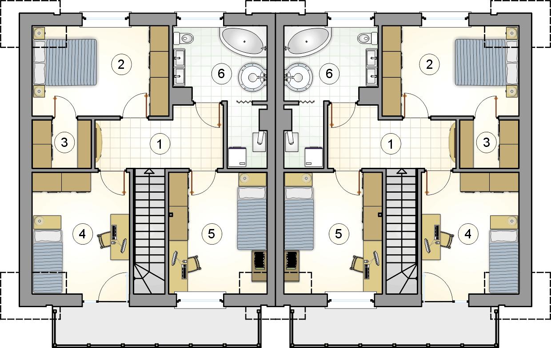 rzut poddasza - projekt Double House VI