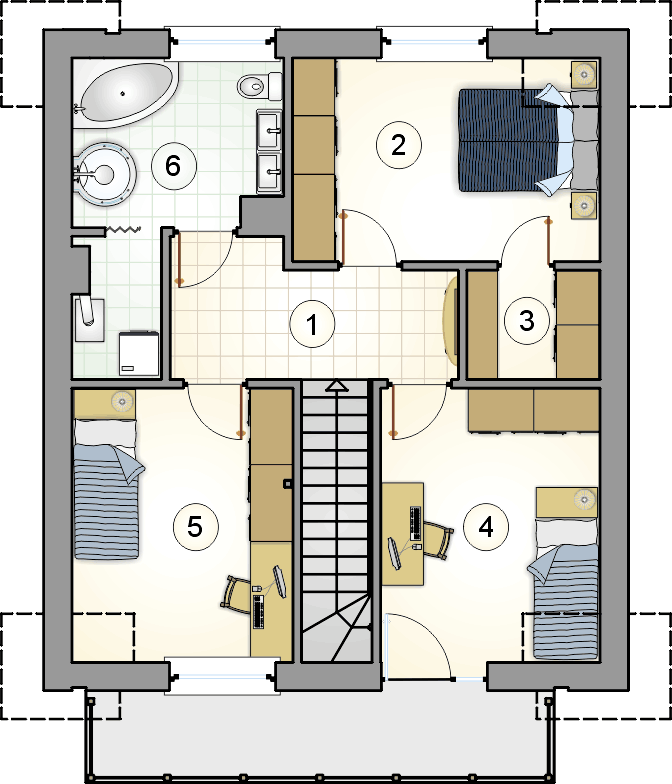 rzut poddasza - projekt Single House - wersja lustrzana