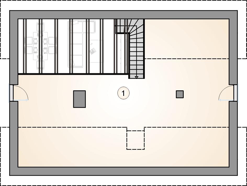 rzut poddasza - projekt Ricardo Lift V - wersja lustrzana