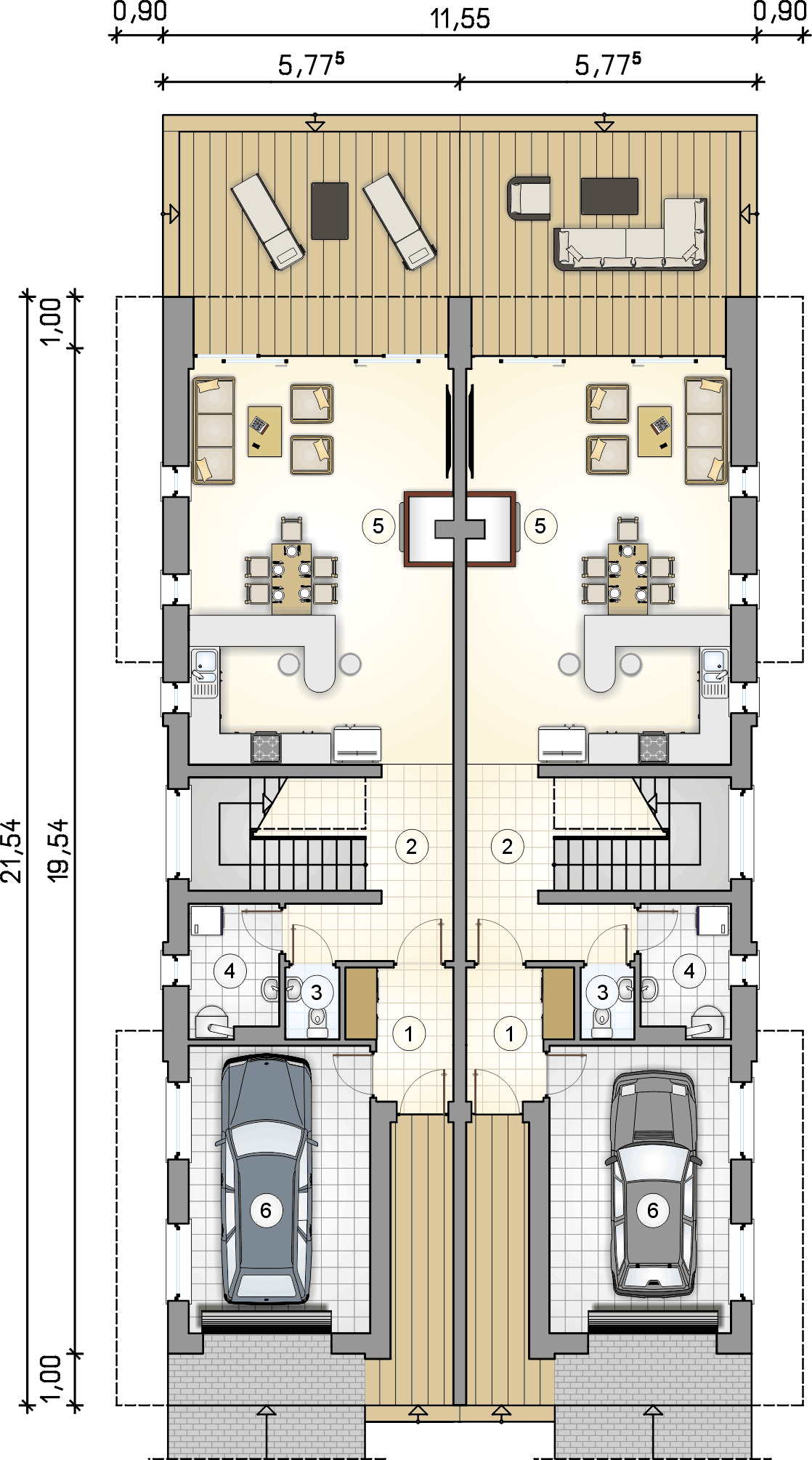 rzut parteru - projekt Modern Twin II