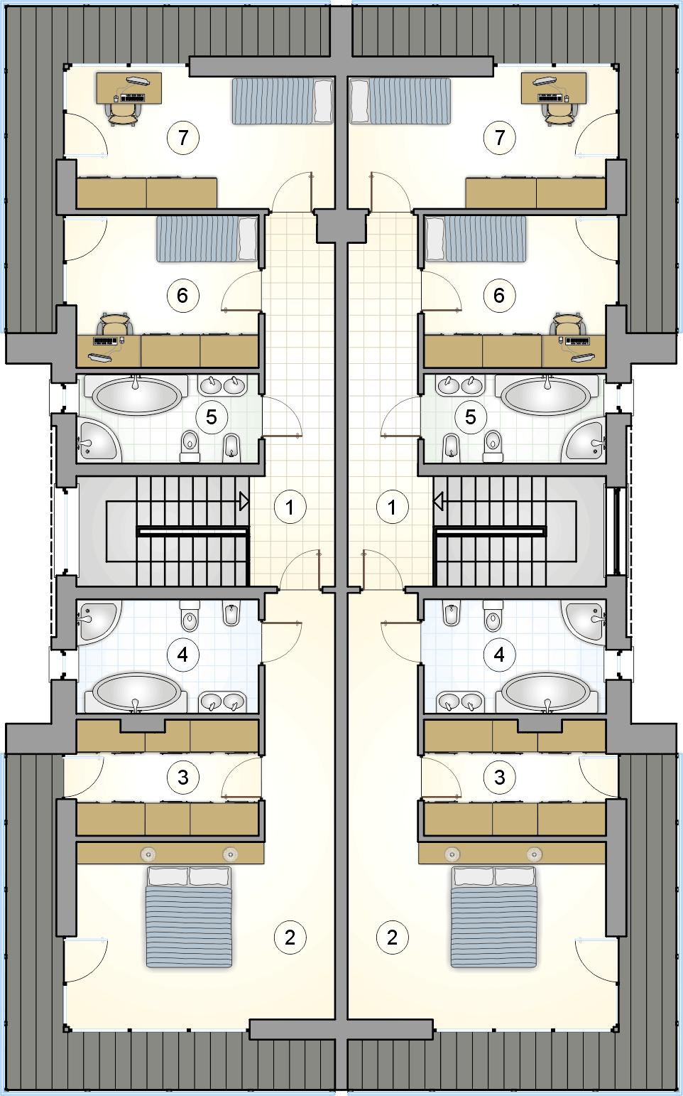 rzut piętra - projekt Modern Twin II