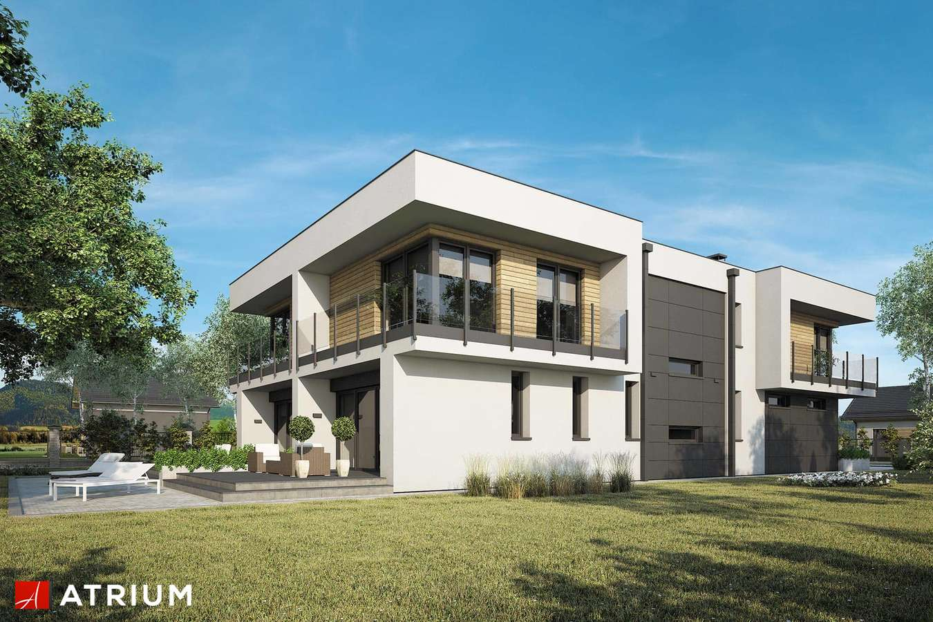 Projekty domów - Projekt domu piętrowego MODERN TWIN II - wizualizacja 2