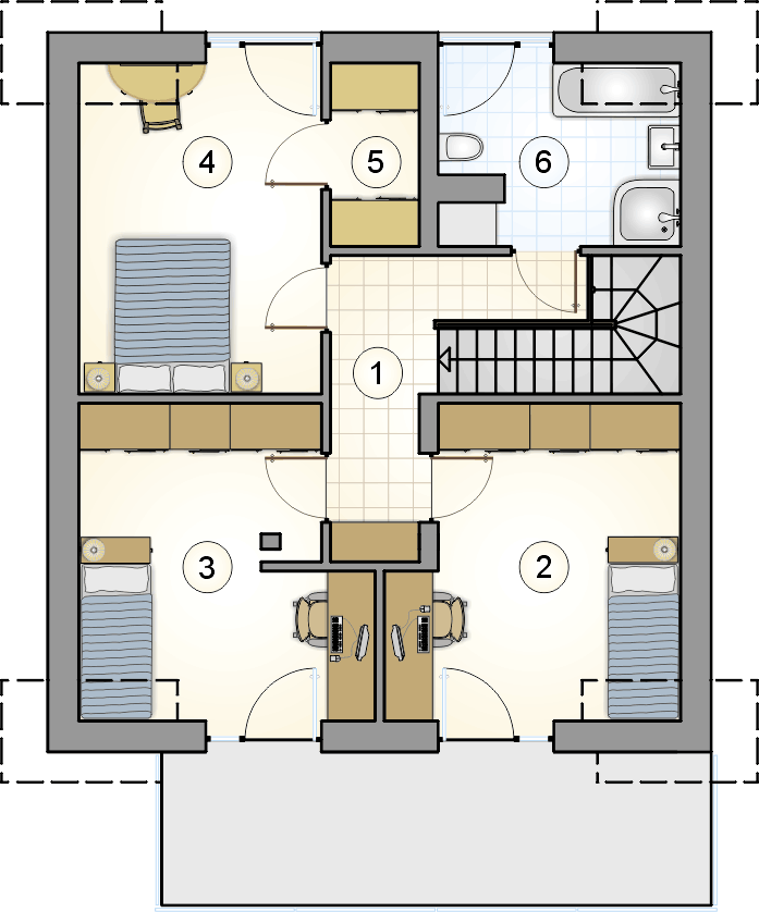 rzut poddasza - projekt Single House II