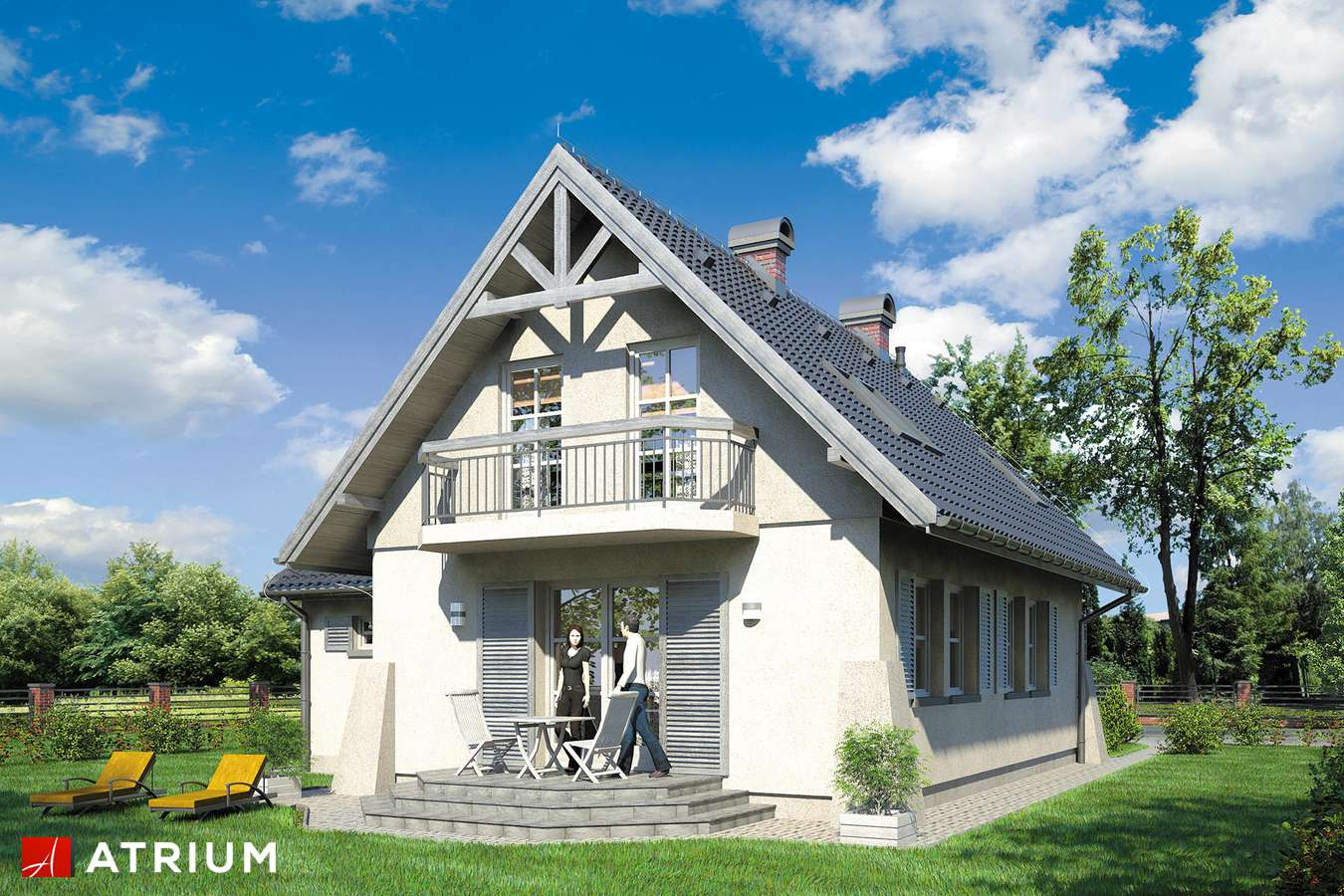 Projekty domów - Projekt domu z poddaszem GUCIO - wizualizacja 2