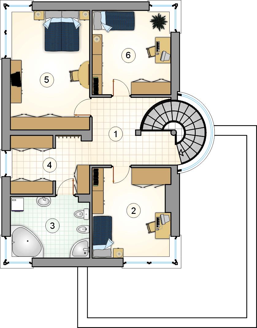 Rzut piętra - projekt Willa Gracja