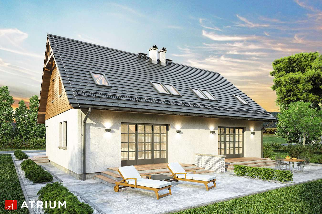 Projekty domów - Projekt domu z poddaszem DUET - wizualizacja 2