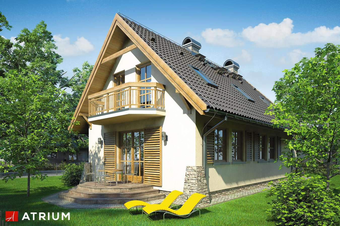 Projekty domów - Projekt domu z poddaszem OLIWIA - wizualizacja 2 - wersja lustrzana
